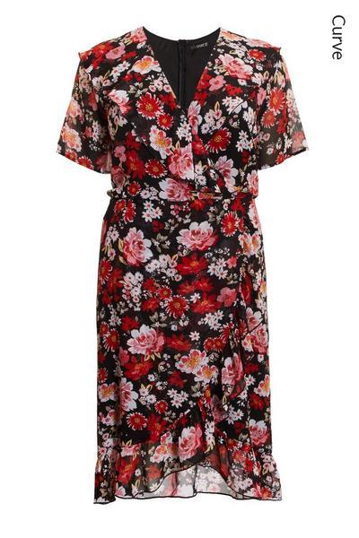 Curve Black Floral Chiffon Midi Dress